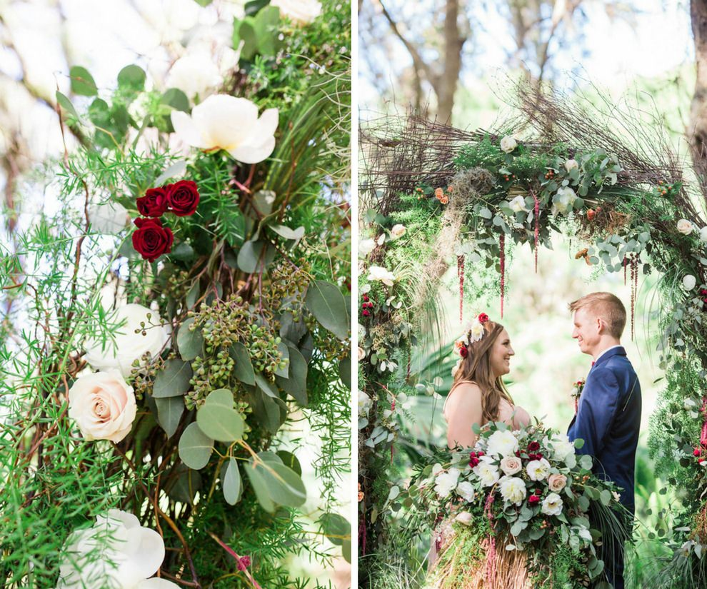Outdoor Whimsical Garden Wedding Ceremony Inspiration with Rustic Arch and White and Deep Red Flowers