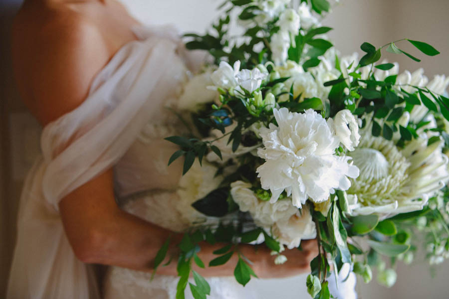 Bridal Portrait with White Floral and Greenery Wedding Bouquet
