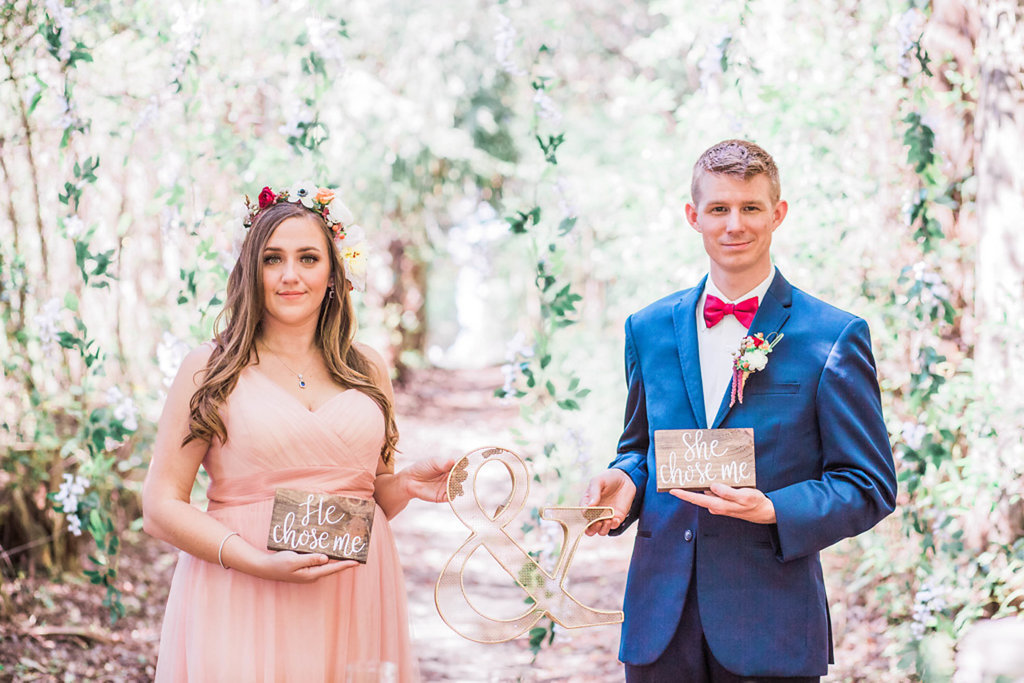 Bride and Groom Wedding Portrait with He Chose Me Sign