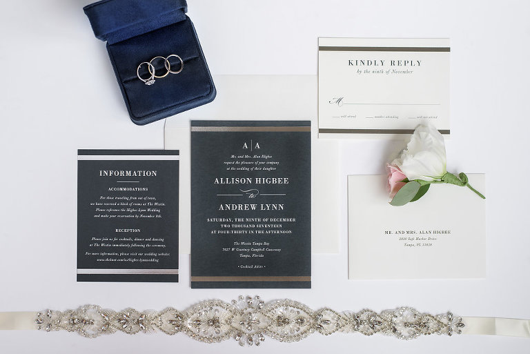 Navy and White Printed Invitation Suite with Gold Horizontal Lines, with Wedding Rings and Engagement Band and Jeweled Bridal Garter