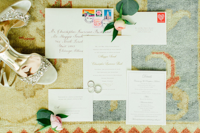 White and Gold Elegant Printed Invitation Suite with Wedding Rings and Open Toe Bejeweled Badgley Mischka Shoes