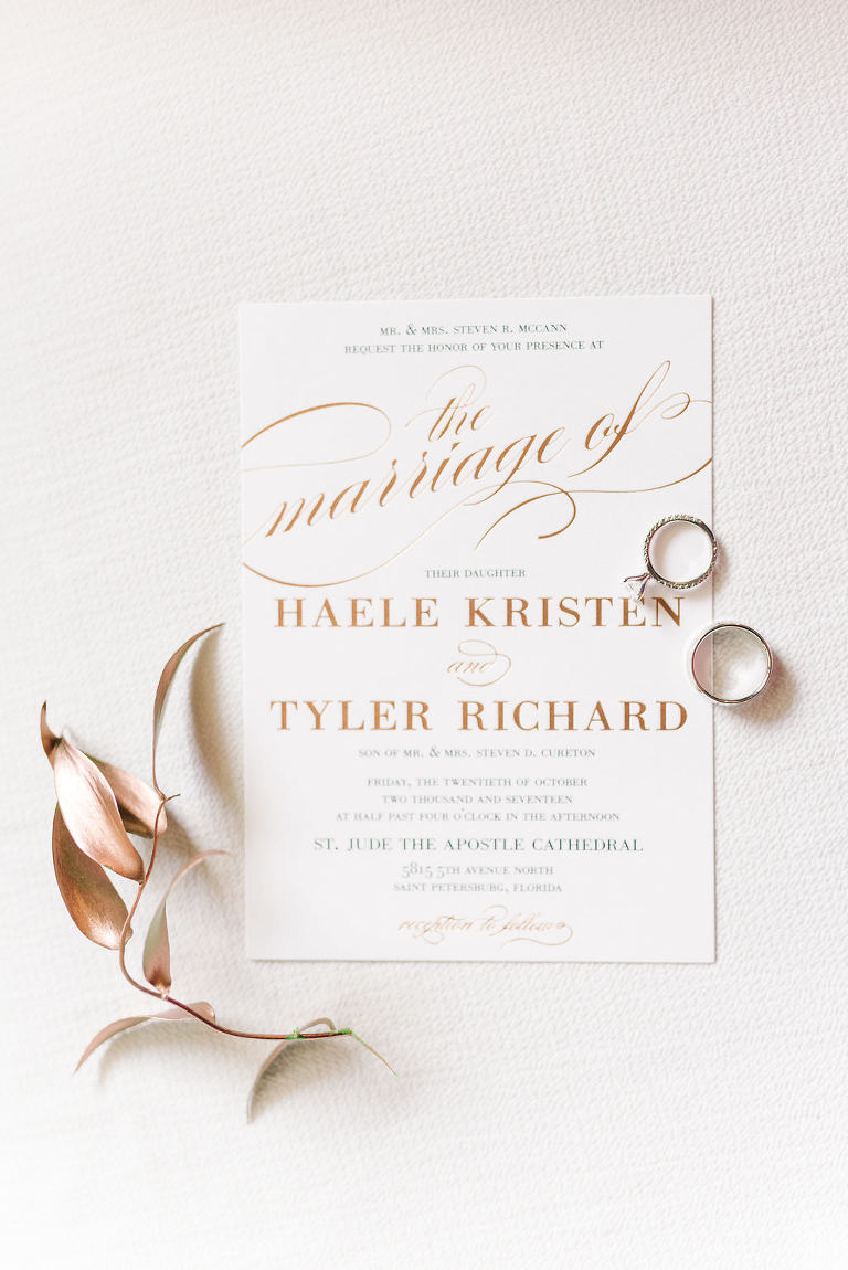 Stylish Copper and White Wedding Invitation with Engagement Ring and Wedding Band