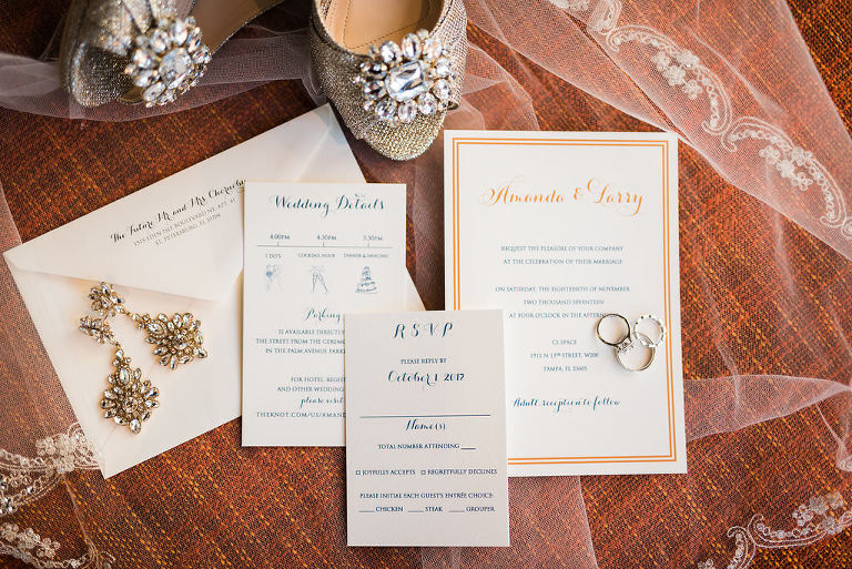 Gold Navy Blue and White Wedding Invitation Suite with Rings and Rhinestone Bridal Earrings and Gold Glitter Peep-toe Jeweled Shoes