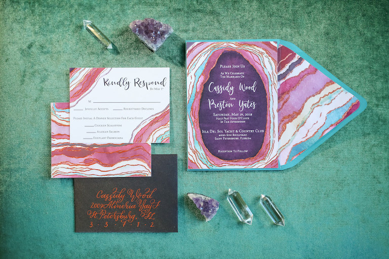 Pink, Purple and Turquoise Agate Inspired Wedding Invitation Suite with Copper Foil on Black Envelope | Tampa Bay Wedding Paper Goods Sarah Bubar Designs