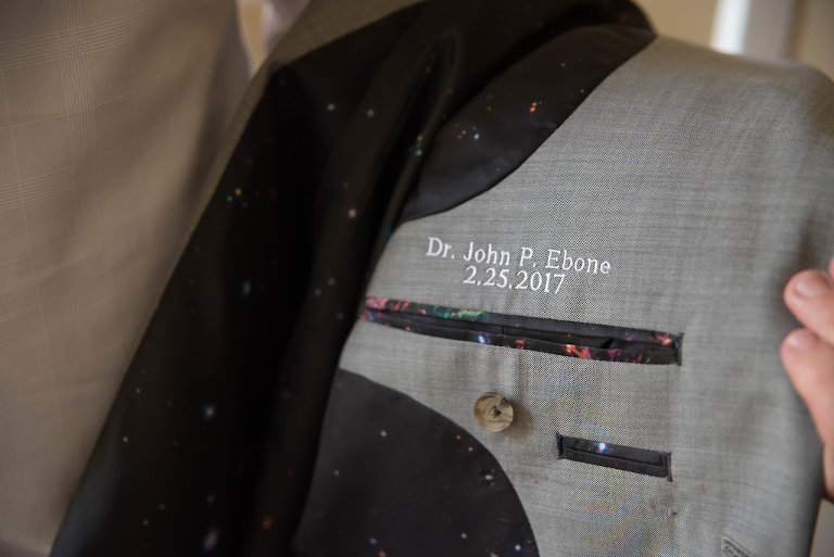 Groom Memory Detail Name and Date Embroidered in Interior Suit Pocket, Grey Suit with Retro Rainbow Star Black Silk Lining