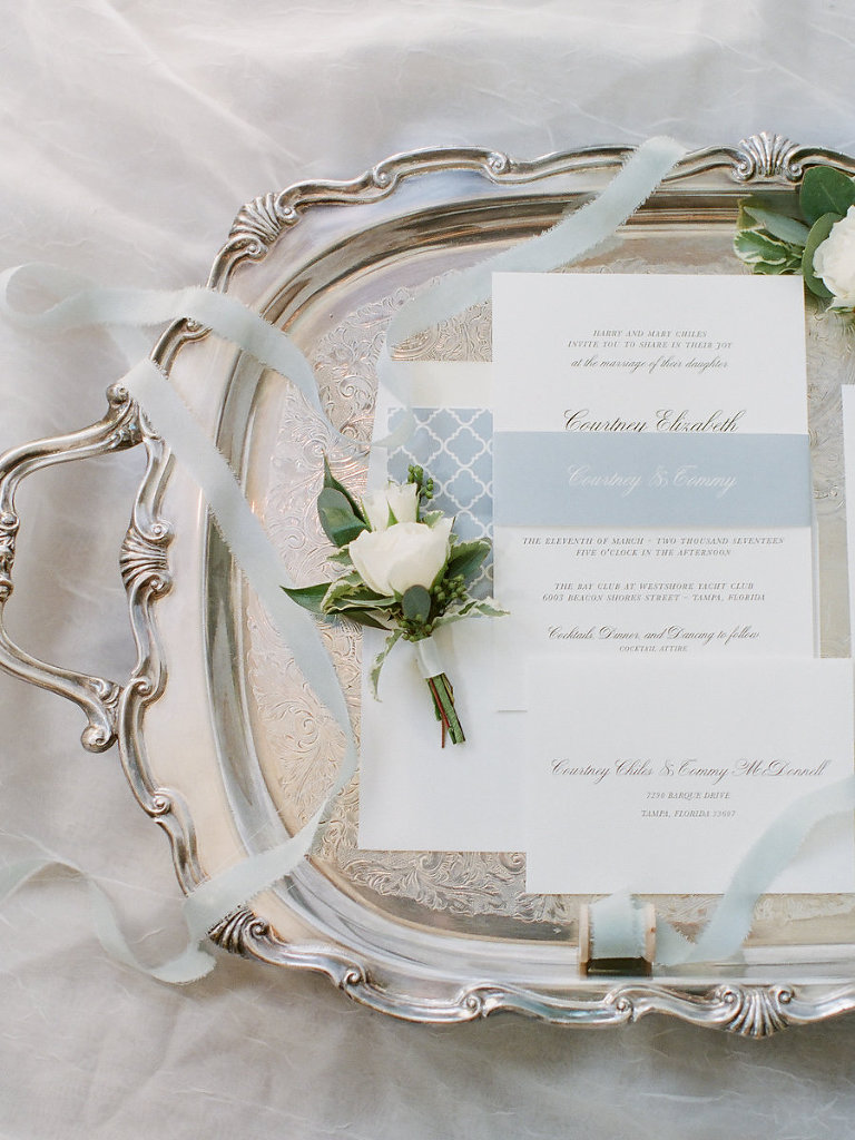 Elegant Light Blue and White Wedding Invitation Suite with White Rose and Greenery Boutonniere