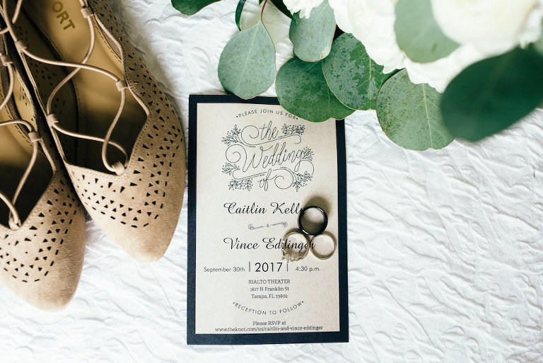 Vintage Travel Inspired Taupe and Navy Wedding Invitation with Pointed Toe Suede Flat Wedding Shoes, and Wedding Ring and Black Mens Wedding Band