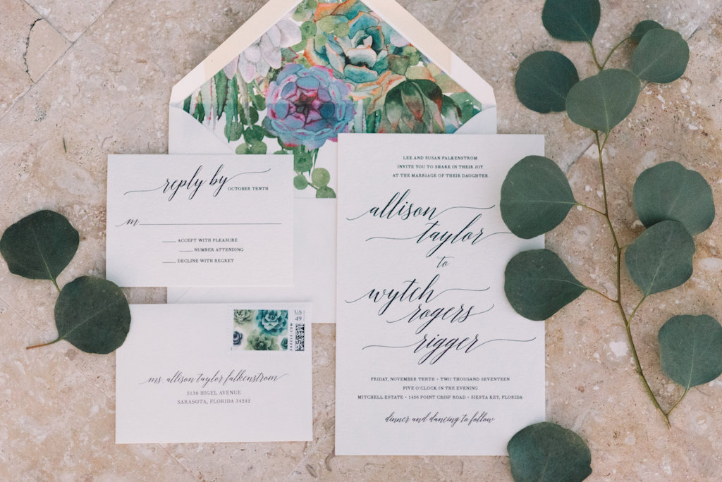 Greenery Organic Inspired White Wedding Invitation with Floral Envelope Liner and Modern Script Font