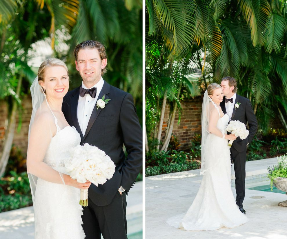 Outdoor Garden Bride and Groom Portrait, Bride in Strapless Robert Bullock Wedding Dress with WHite Peony Bouquet, Groom in Black Tux with WHite Floral and Greenery Boutonniere   Tampa Bay Wedding Photographer Ailyn La Torre