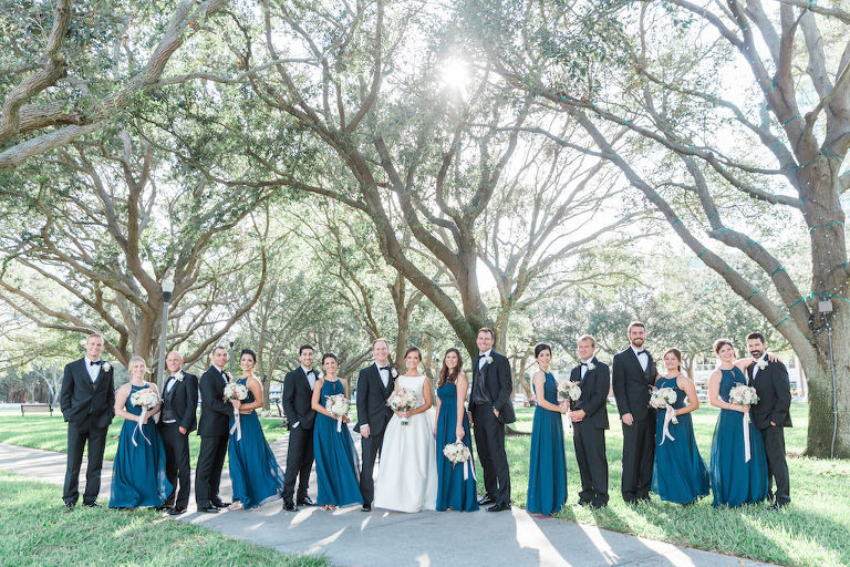 Outdoor Park Wedding Party Portrait, Bridesmaids in Floorlength Azazie Matching Halter Blue Dresses with White and BLush Pink Bouquets with Long RIbbon