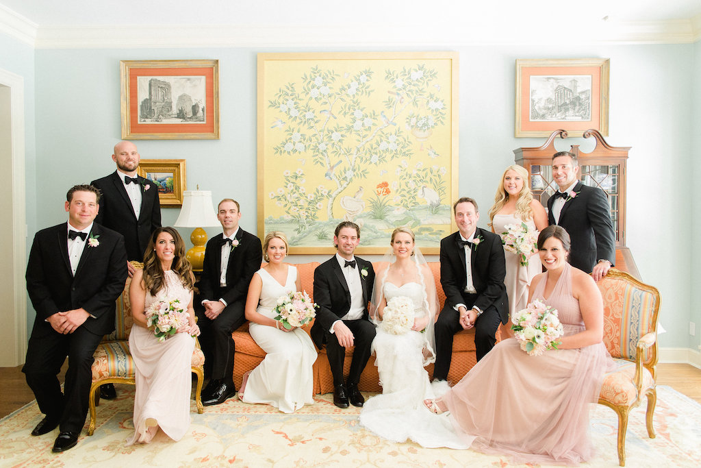 Indoor Wedding Party Portrait, Bridesmaids in Mismatched Blush Dresses, Groomsmen in Black Tuxes, with Blush and White Floral with Greenery Bouquets   Tampa Bay Wedding Photographer Ailyn La Torre Photography