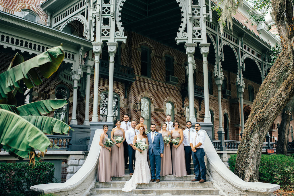 3f2523710e7 Downtown Tampa Outdoor Wedding Party Portrait with Historic Architecture