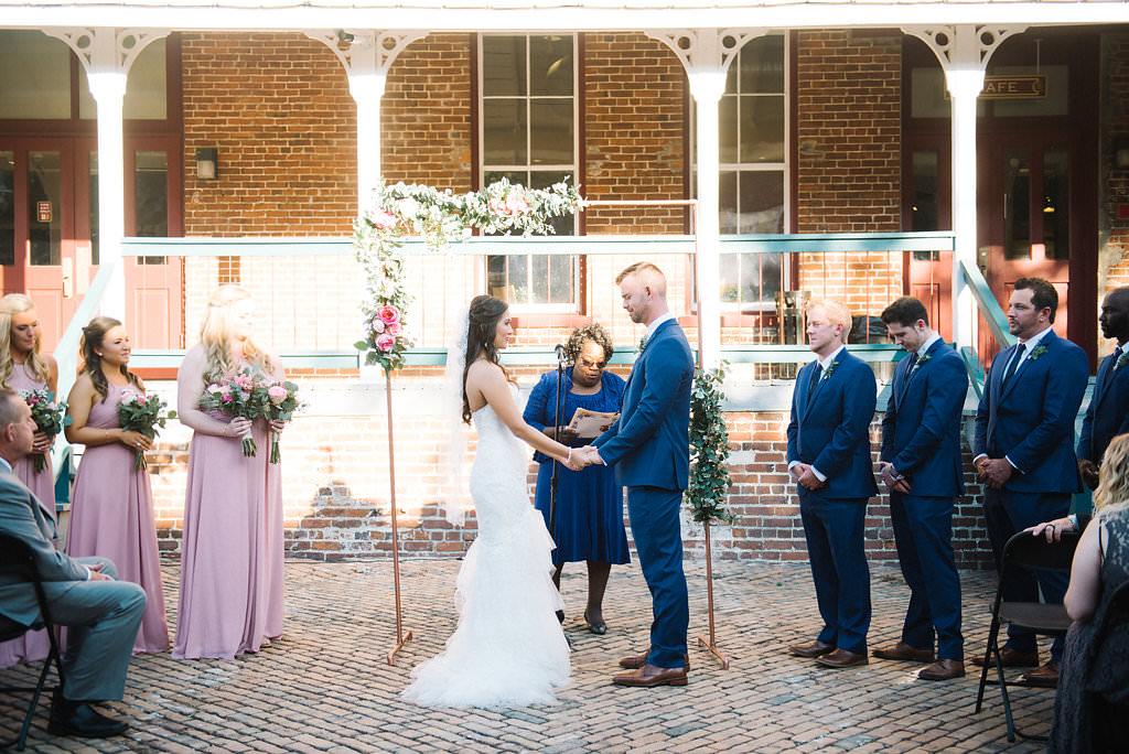 3ff419e248f Outdoor Courtyard Wedding Ceremony Portrait