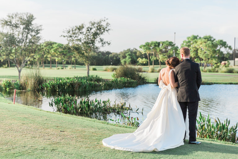 Outdoor Park Bride and Groom Wedding Portrait, Bride in Open Back with Bow Rosa Clara Bridal Dress