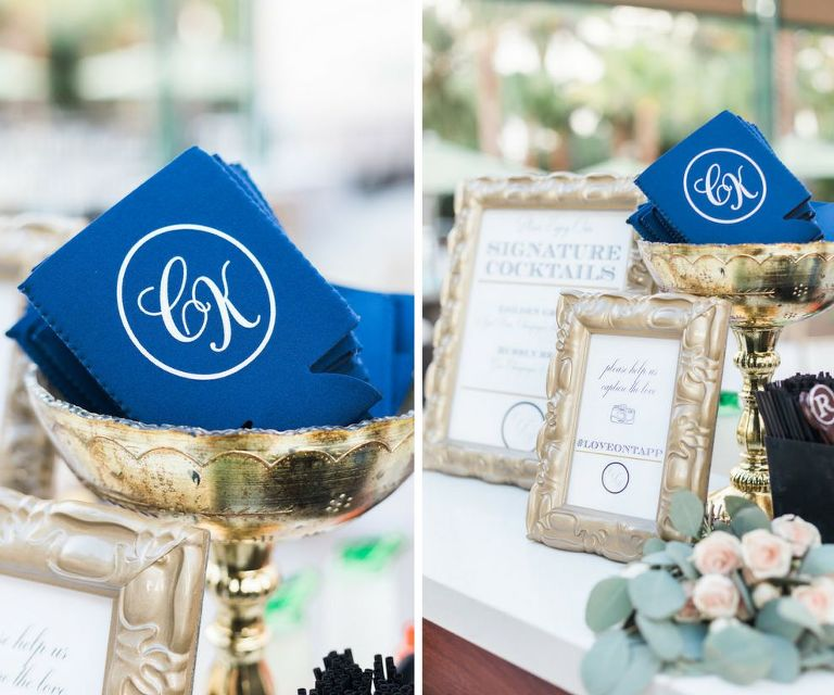 Custom Monogram Wedding Favor Blue and White Koozies in Gold Dish, with Printed Bar Menus in Antique Gold Frames | Tampa Bay Wedding Invitations and Monogram A and P Designs