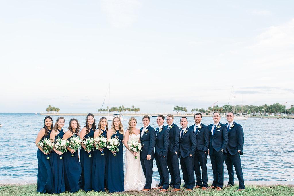 Navy Blue Wedding.Outdoor Wedding Party Portrait In Navy Blue Cross Halter Lulus Com