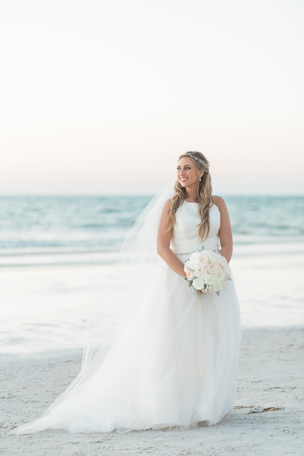 Outdoor Beach Wedding Portrait, Bride in Halter Ballgown Hayley Paige Wedding Dress with White Rose Bouquet and Jeweled Headband   Whimsical Clearwater Beach Wedding