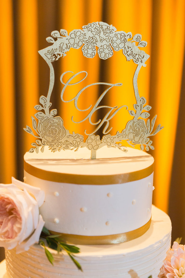 Round White with Gold Ribbon Stripes Wedding Cake with Ornate Custom Monogram Floral Framed Cake Topper | St Pete Wedding Stationary and Monograms A and P Designs | Historic Hotel Wedding Venue, Caterer, and Cake Vinoy Renaissance