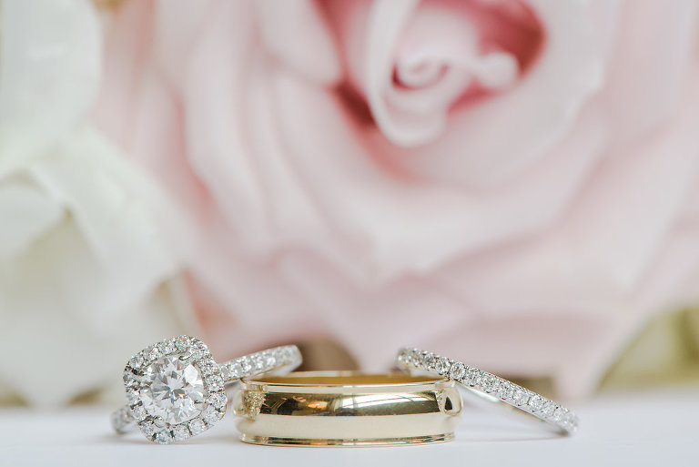 Diamond Engagement and Wedding Ring and Gold Wedding Band