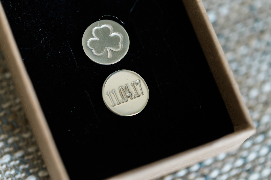 Groom's Wedding Accessories Gold Cufflinks Engraved with Shamrock and Date