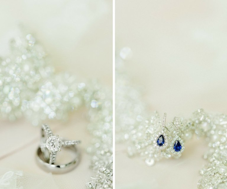Bridal Jewelry with Blue Sapphire Tear Drop Earrings, Diamond Engagement Ring and Hammered White Gold Mens Wedding Band