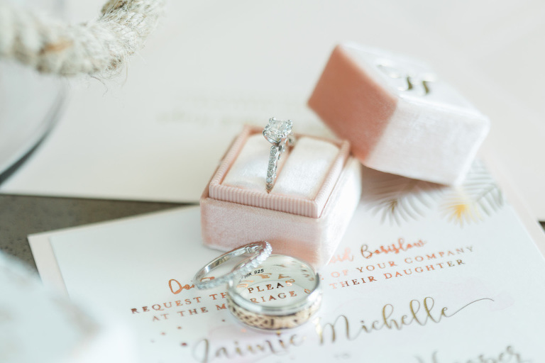 Tropical Rose Gold and Blush Pink Whimsical Wedding Invitation with Diamond Engagement Ring and Celtic Mens Wedding Band