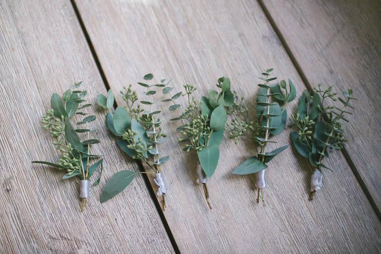 Organic, Natural Greenery Wedding Boutonnieres