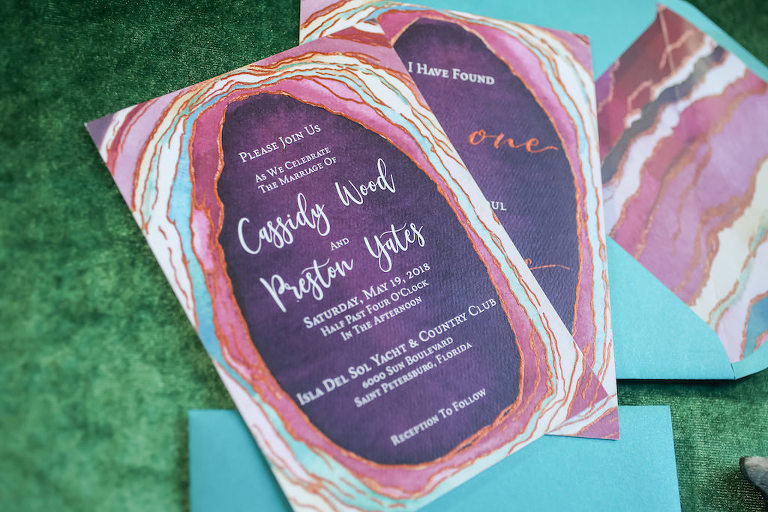 Pink, Purple and Turquoise Agate Inspired Wedding Invitation Suite | Tampa Bay Wedding Paper Goods Sarah Bubar Designs