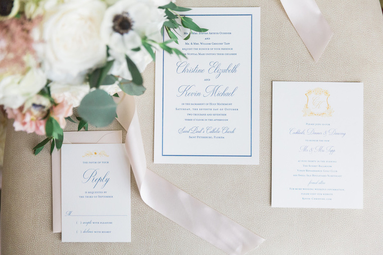 Elegant Southern Charm Blue White and Gold Wedding Invitation Suite with Custom Monogram | Tampa Bay Paper Goods A and P Designs