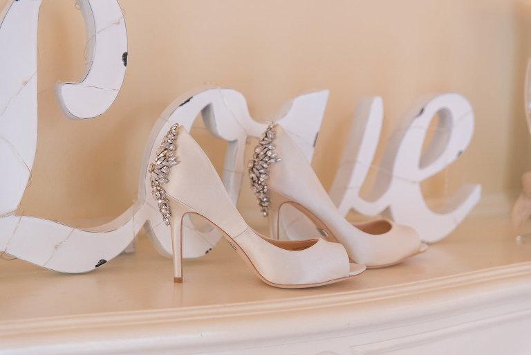 Satin Peep Toe Rhinestone Heel Wedding Shoes