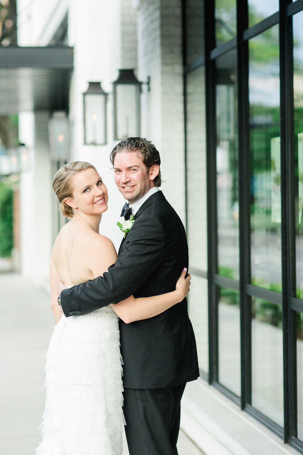 Outdoor Urban Street Bride and Groom Portrait   Tampa Wedding Photographer Ailyn La Torre Photography