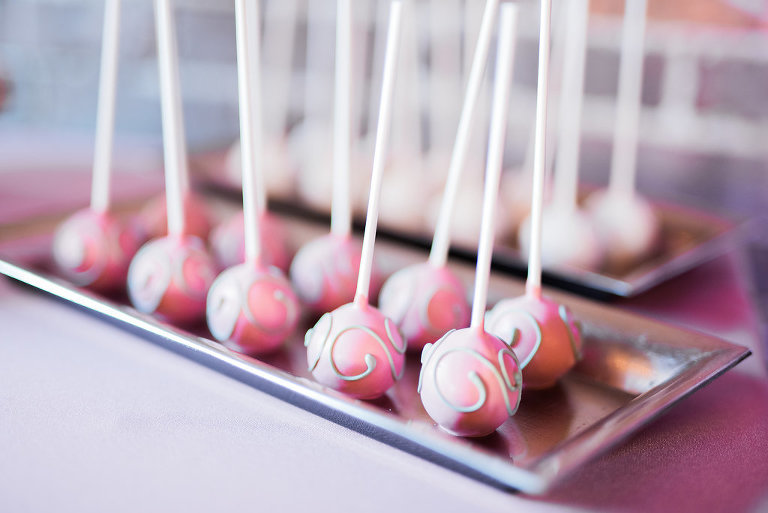 Pink Cake Pops with Silver Swirl Pattern from Tampa Bay Wedding Dessert Bakery Sweetly Dipped Confections