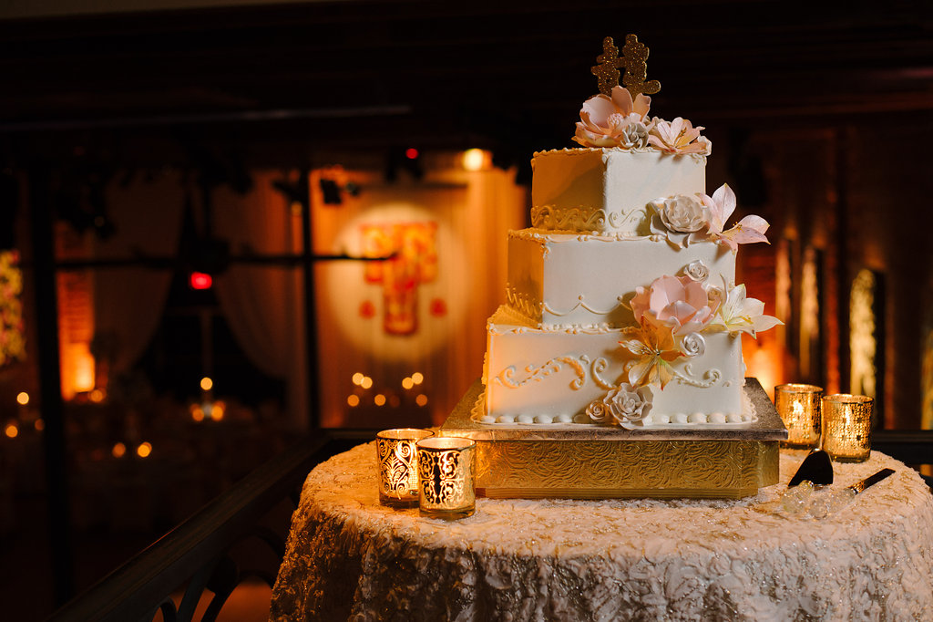 Blush Pink and Gold Multicultural Wedding Reception with Three Tier Square Wedding Cake with Sugar Flowers, Gold Glitter Chinese Character Cake Topper, on Gold Cake Stand with Votive Candles on Textured Linen   Unique Downtown St Pete Venue NOVA 535