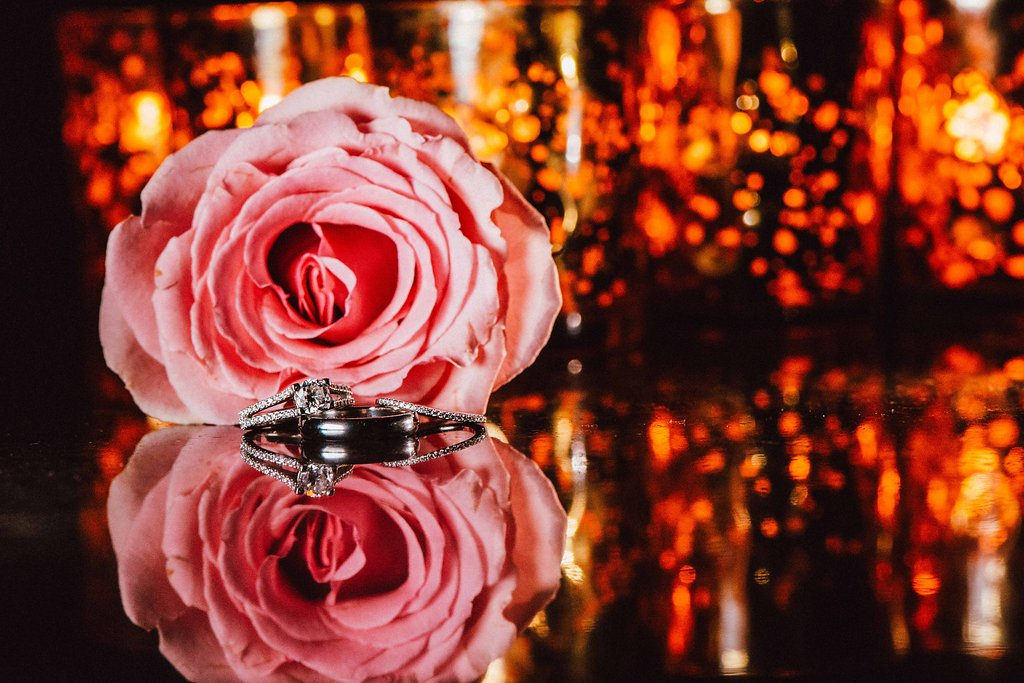 Engagement Ring, White Gold Wedding Ring and Black Mens Wedding Band with Pink Rose and Orange Lights