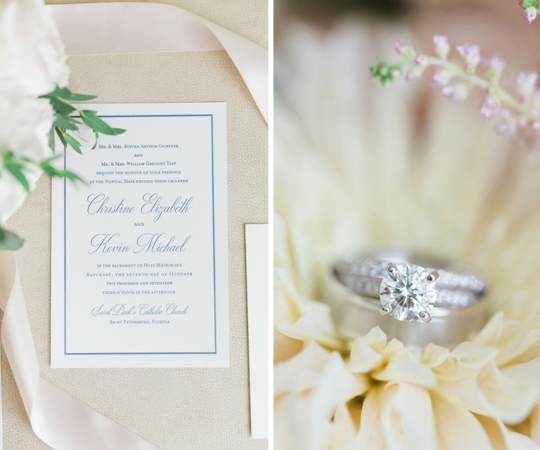 Elegant Blue and White Wedding Invitation and Diamond Engagement Ring with White Gold Wedding Band | St Pete Paper and Stationery A and P Designs