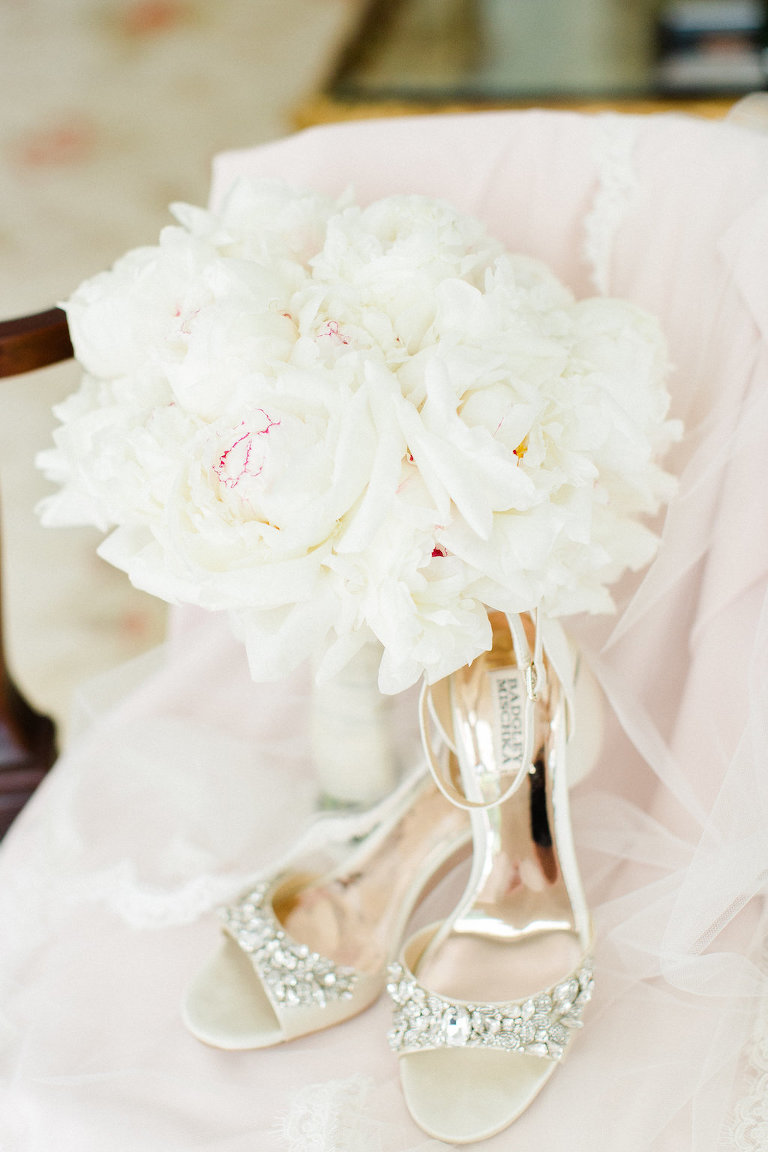 White Peony Bridal Bouquet and Open Toe Jeweled Badgley Mischka Wedding Shoes