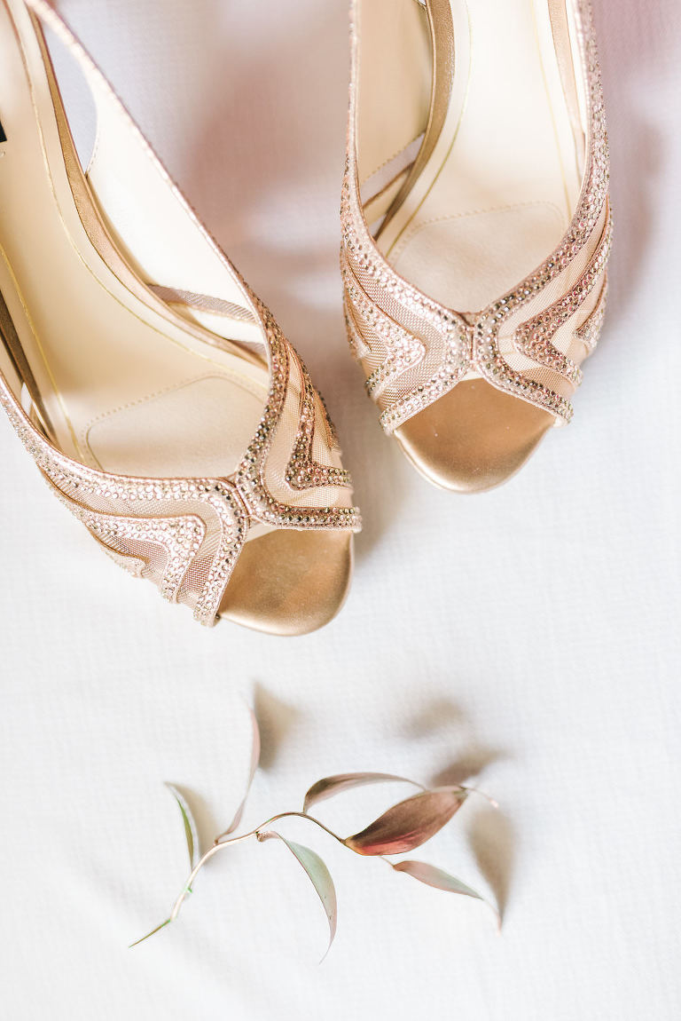 Rose Gold Peep Toe Wedding Shoes