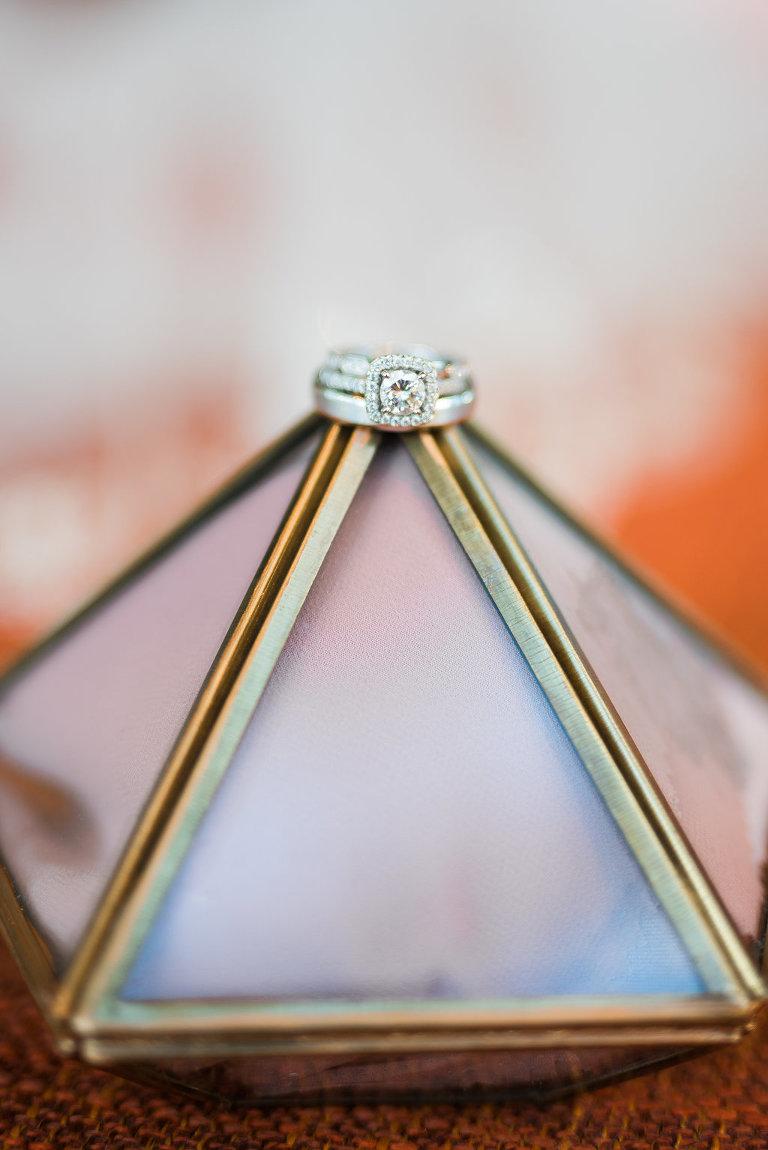 Diamond Engagement Ring and wedding Band on Geometric Decor