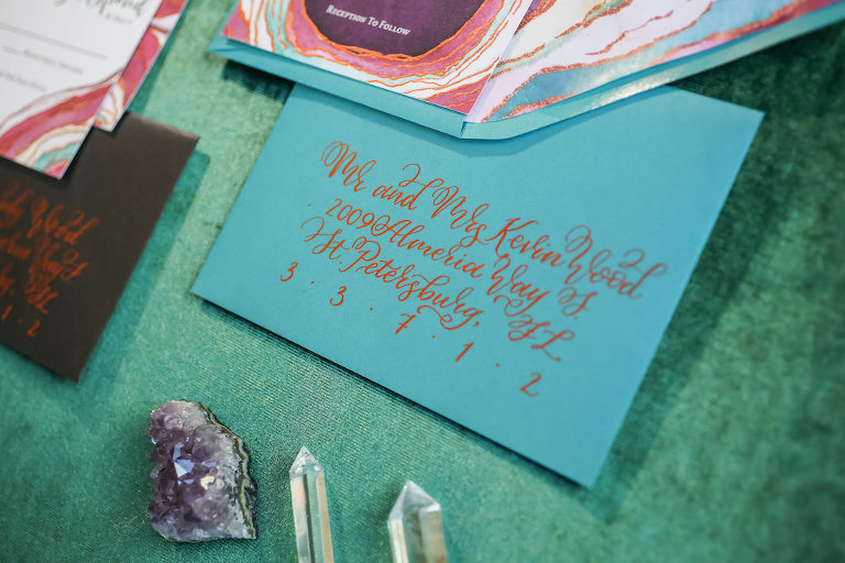 Pink, Purple and Turquoise Agate Inspired Wedding Invitation Suite with Copper Foil Script on Blue and Black Envelope | Tampa Bay Wedding Stationery Designer and Calligrapher Sarah Bubar Designs