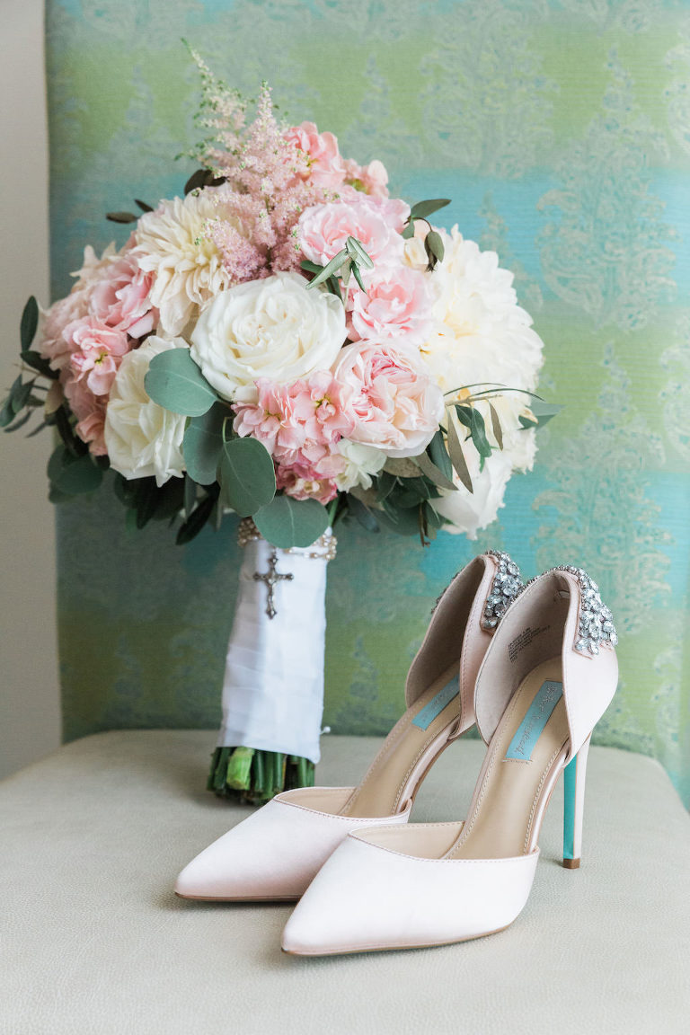 Pink Peony and WHite Floral with Greenery White Ribbon Wrapped Bridal Bouquet with Blush Pointed Toe and Rhinestone Heel Wedding Shoes