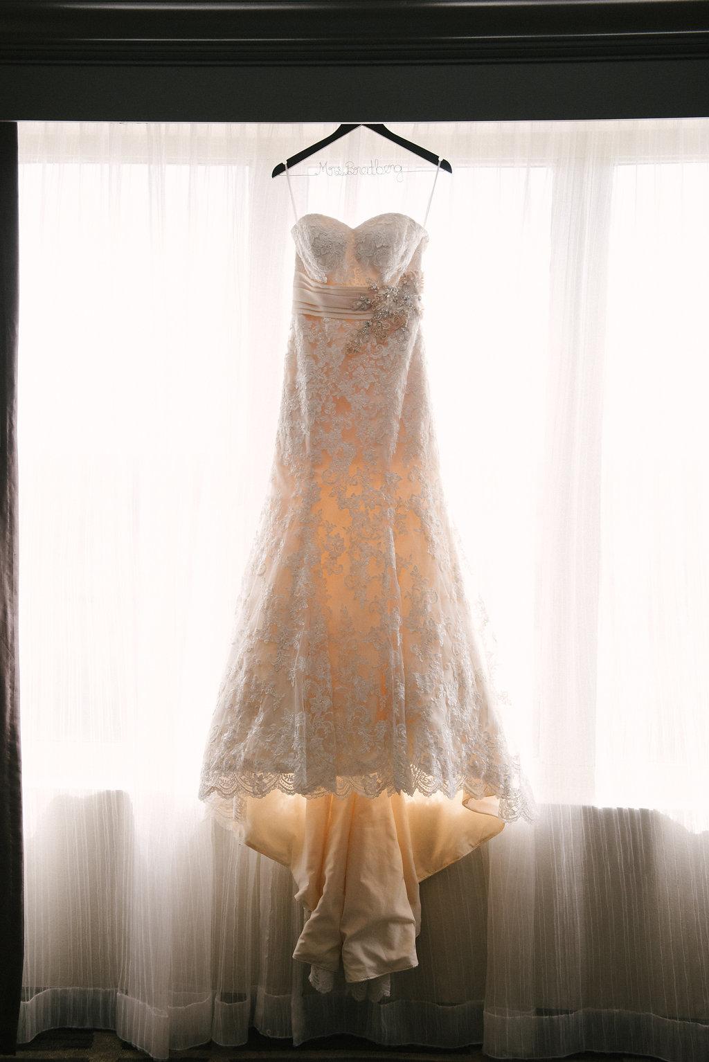 Strapless Lace Allure Bridal Wedding Dress on Hanger