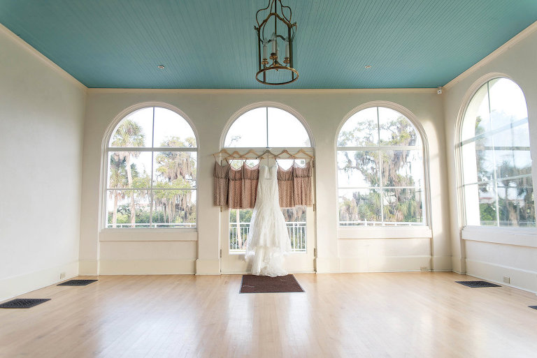 Allure Bridals WEdding Dress on Hanger with Adrianna Papell Dusty Rose Bridesmaids Dresses | Sarasota Historic Wedding Venue The The Edson Keith Mansion