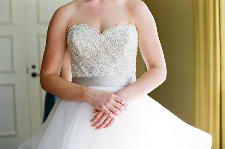 Bride Getting Ready Portrait in Lace Bodice Strapless Silk Ribbon Belted Layered Ballgown Dress