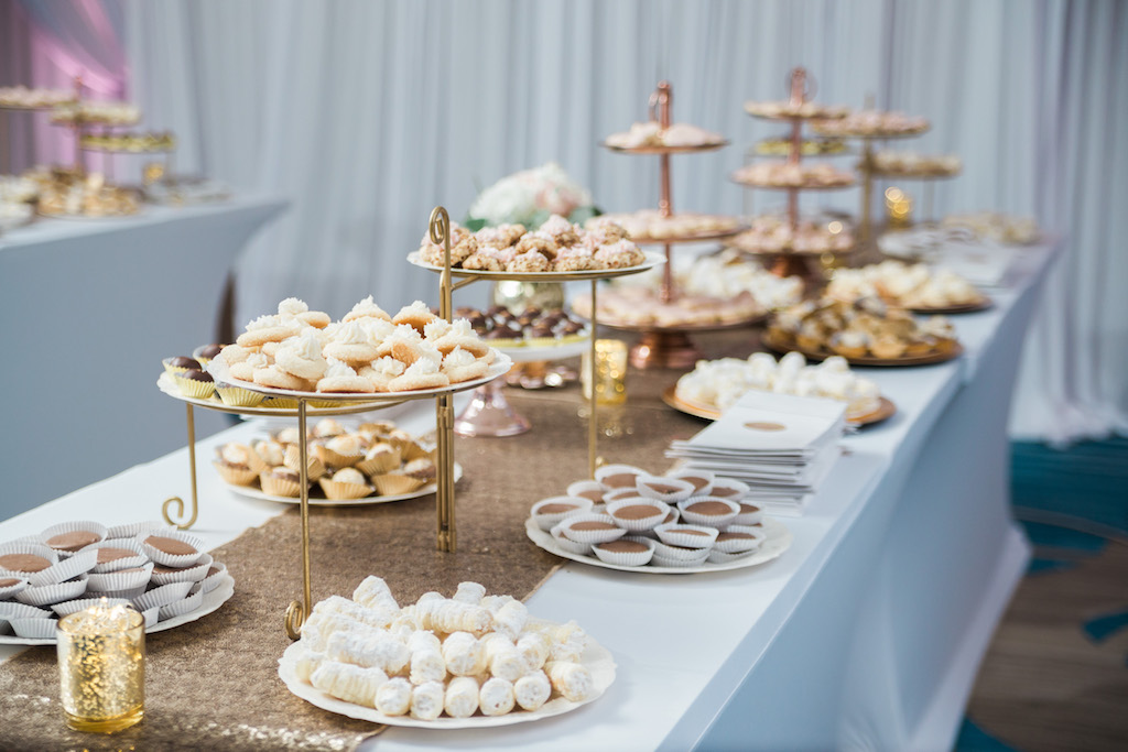 Gold and Pink Whimsical Wedding Reception Desert Table with Small treats on Tiered Gold Stands, with Sequin Table Runner   Tampa Bay Ballroom Wedding Venue Hilton Clearwater Beach