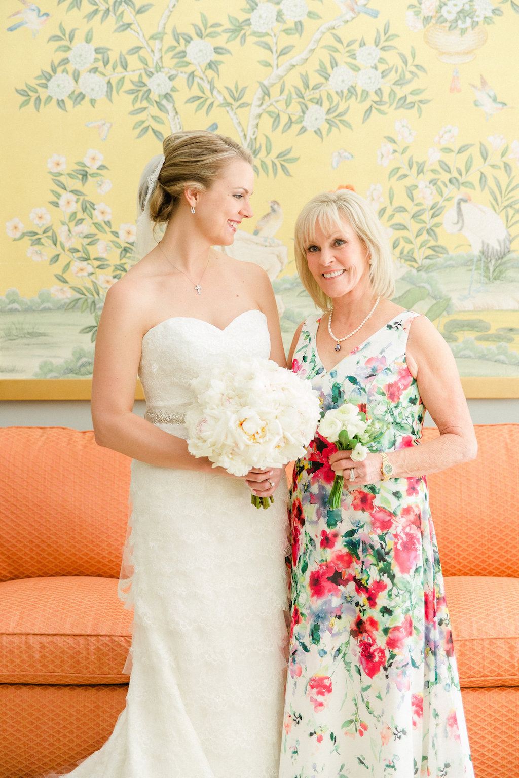 Bride and Mother of the Bride Floral Wedding Day Portrait   Tampa Bay Wedding Photographer Ailyn La Torre Photography
