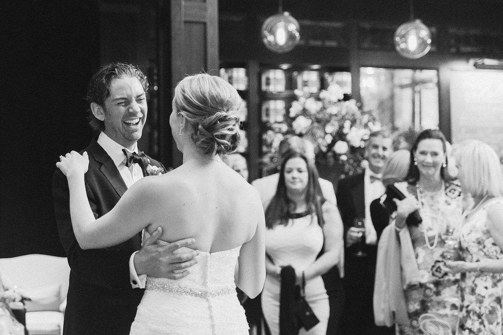 Indoor Garden Wedding Reception First Dance Portrait   Downtown Tampa Venue The Oxford Exchange   Photographer Ailyn La Torre