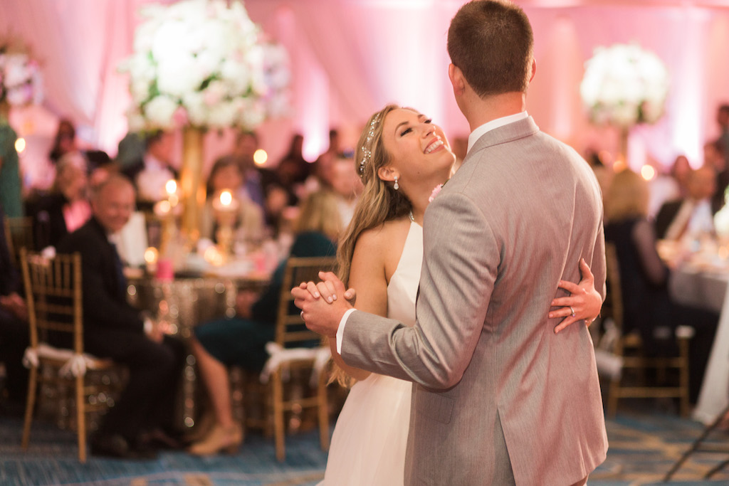 Whimsical Pink and Gold Hotel Ballroom Wedding Reception First Dance Portrait, Bride in Halter Wedding Dress with Jeweled Headband   Tampa Bay Venue Hilton Clearwater Beach