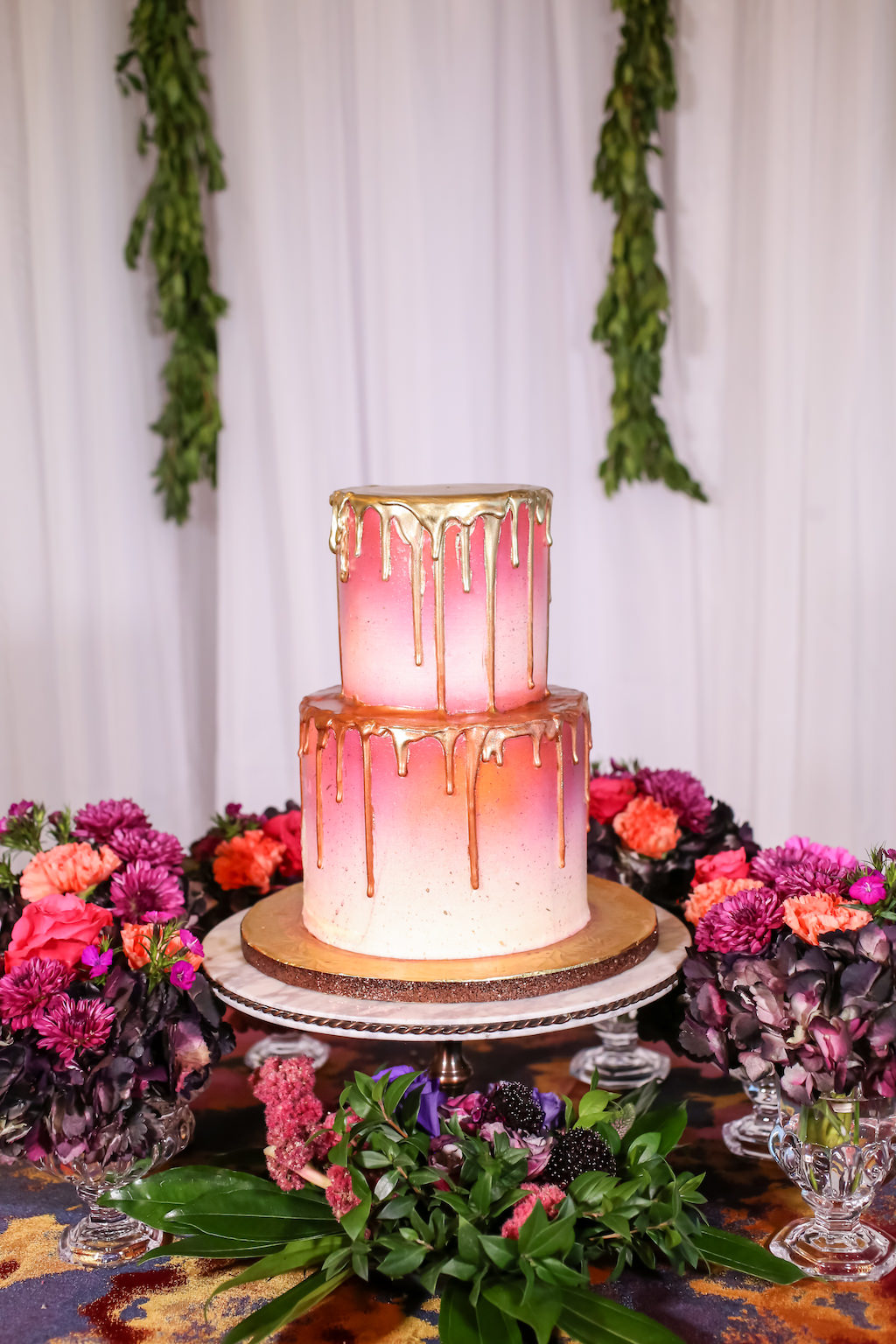 Two Tier Round Pink And White Ombre Wedding Cake With Gold