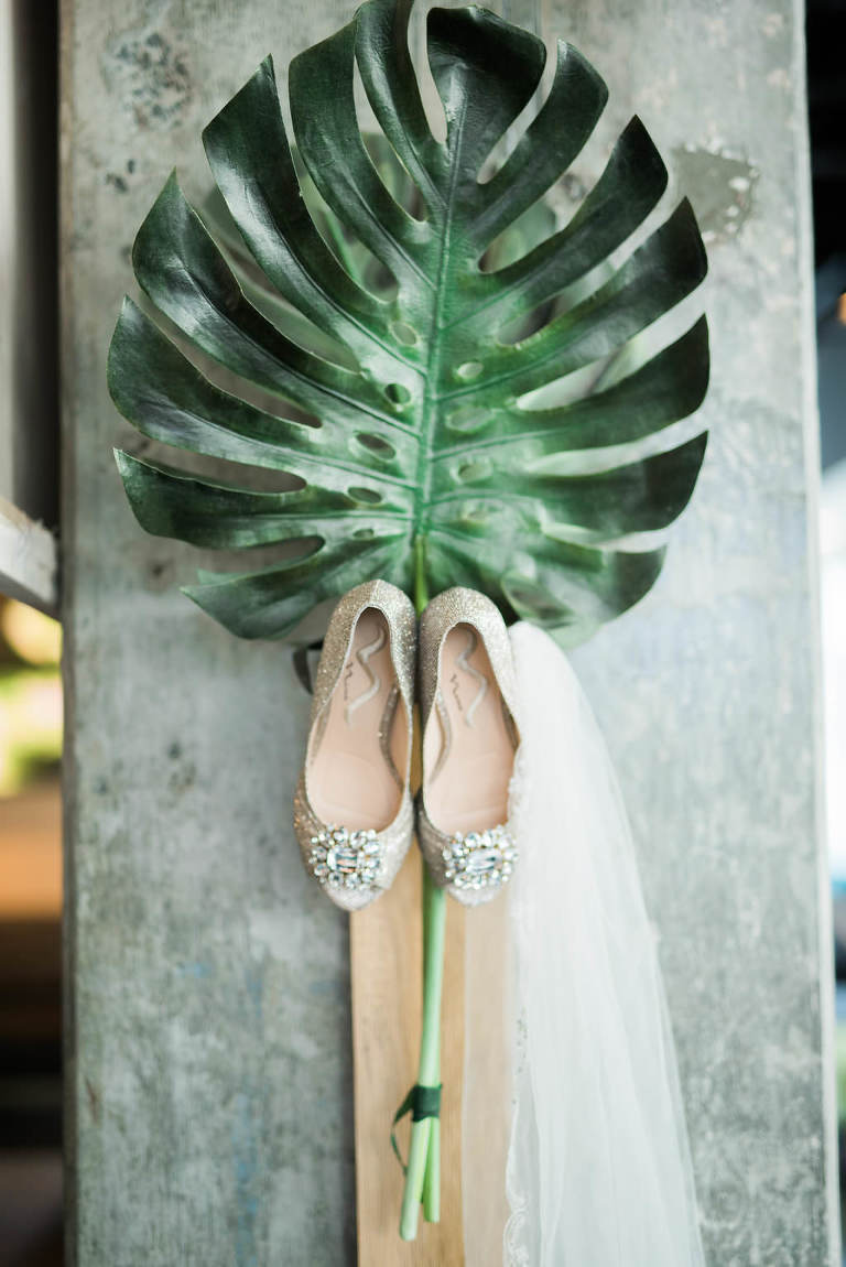 Rhinestone Gold Glitter Peep-toe wedding Shoes with Organic Palm Leaf Greenery