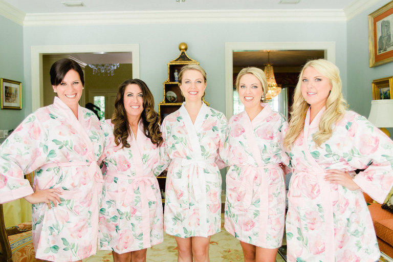 Indoor Bridal Party Portrait in Matching Rose Printed Silk Robes | Tampa Bay Wedding Photographer Ailyn La Torre Photography